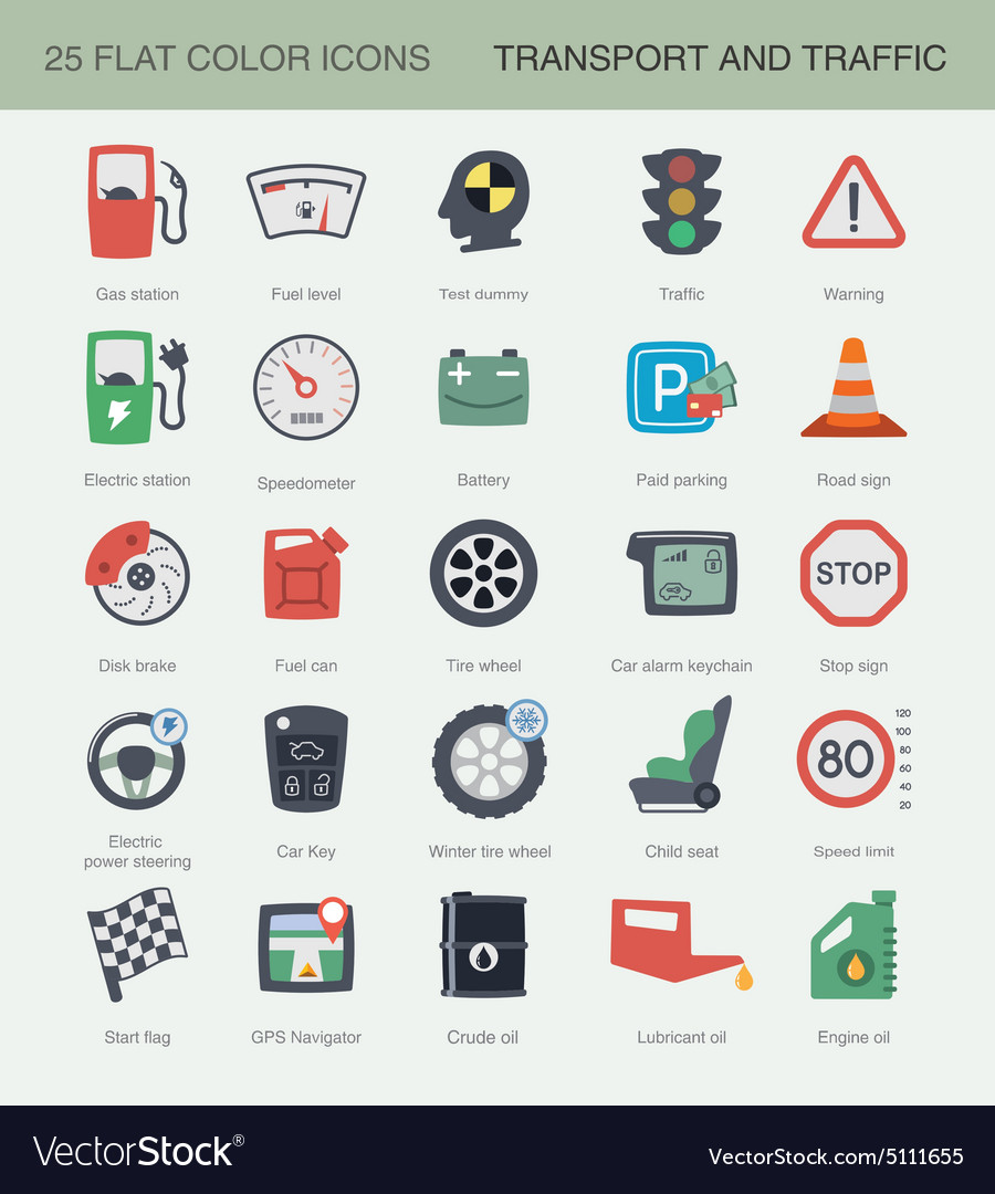 Flat transport and traffic icons set