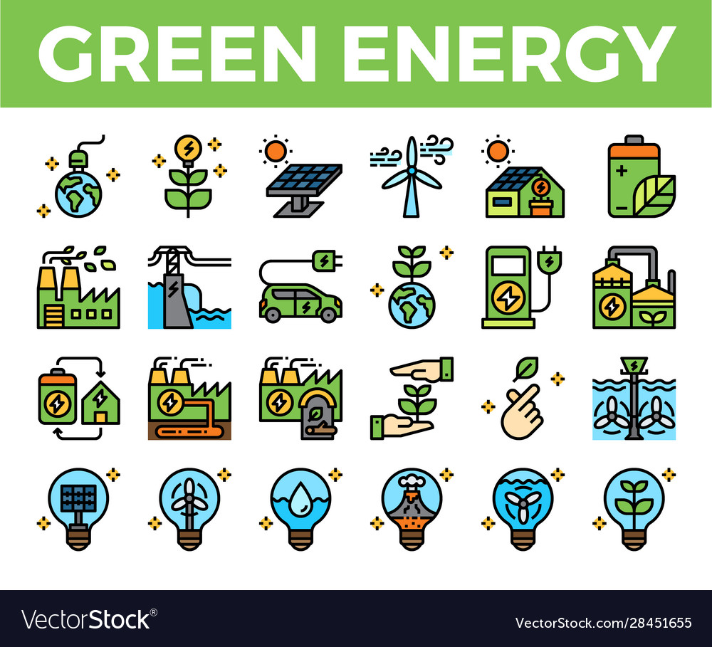 Green energy and ecology filled outline icon