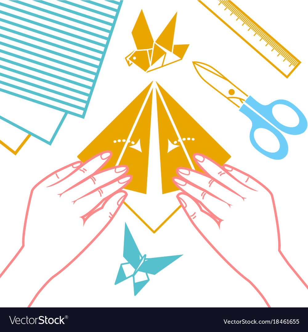 Icon of origami lessons vector image