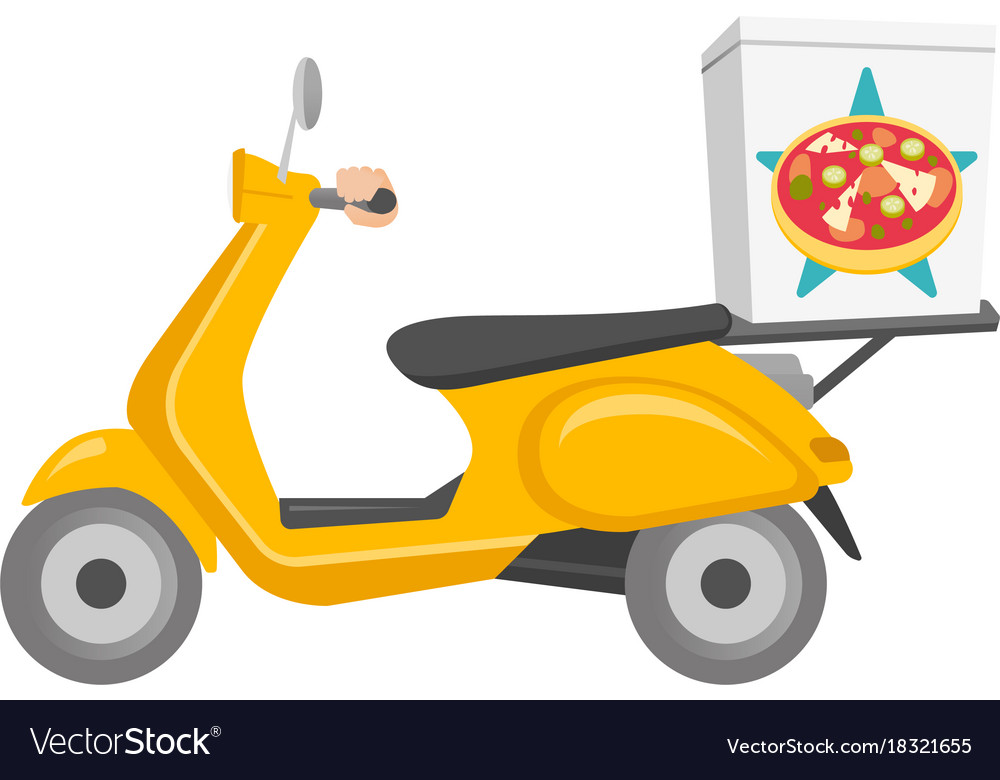 Pizza delivery scooter cartoon