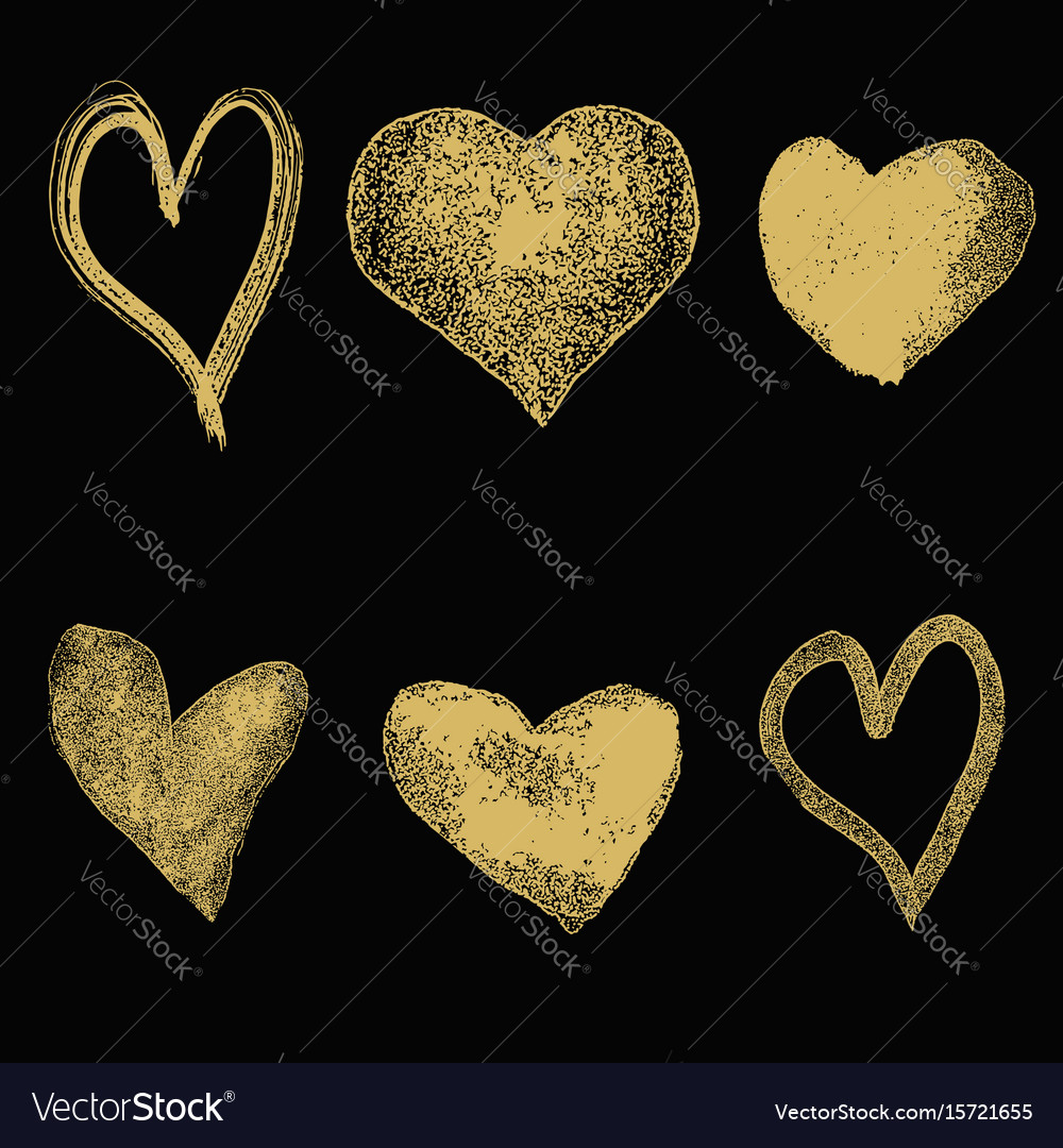Set of hand drawn hearts in golden style isolated