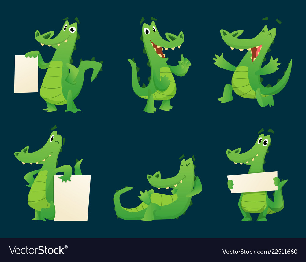 Alligator characters wildlife crocodile amphibian vector