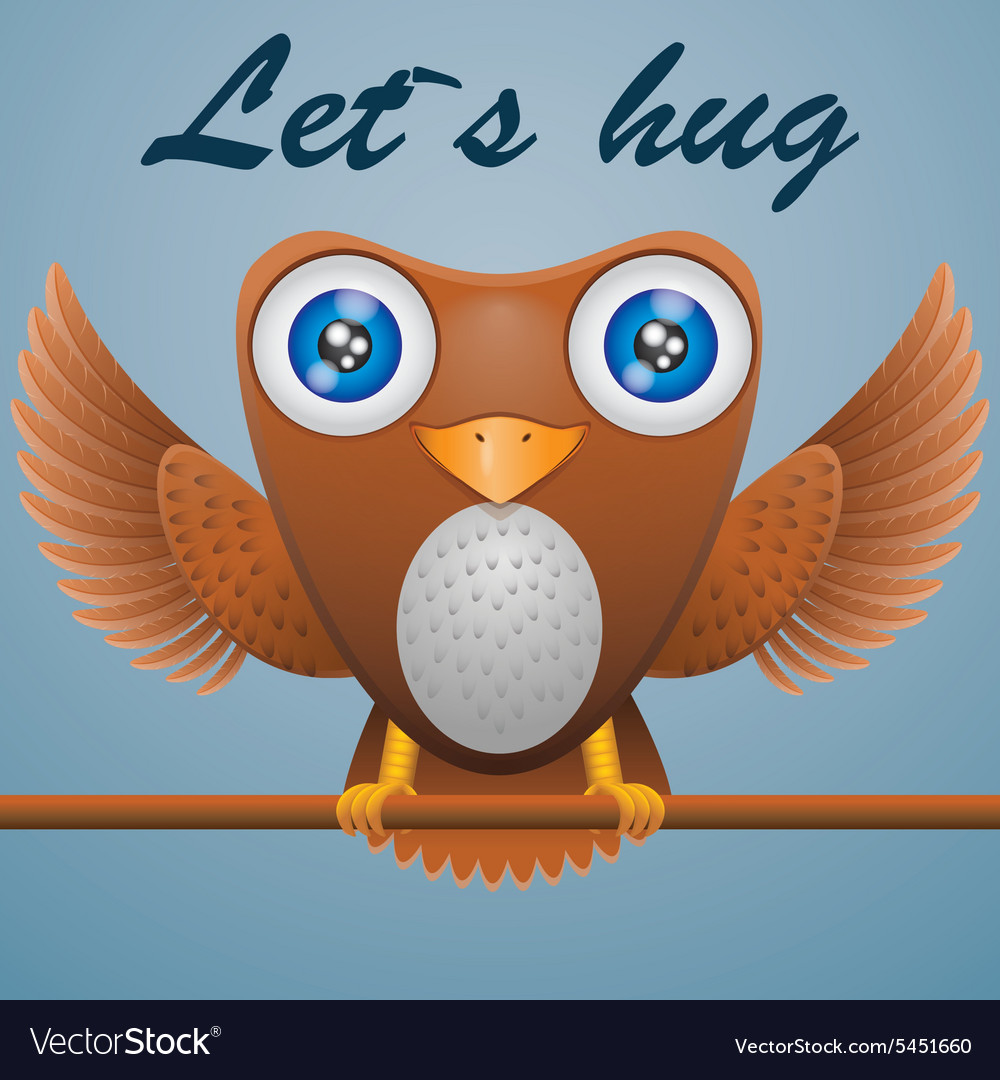 Cartoon owl on stick text lets hug