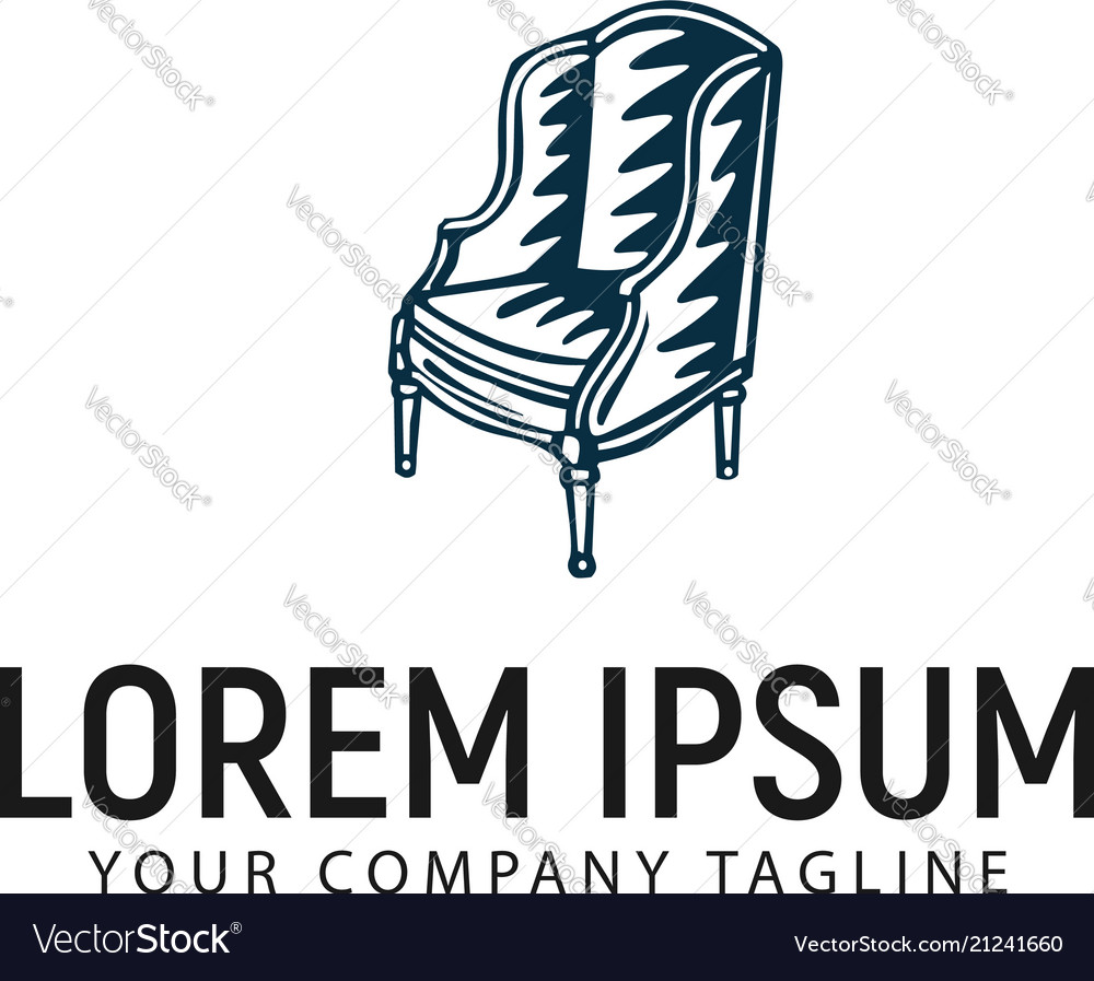 Chair antique hand drawn logo design concept