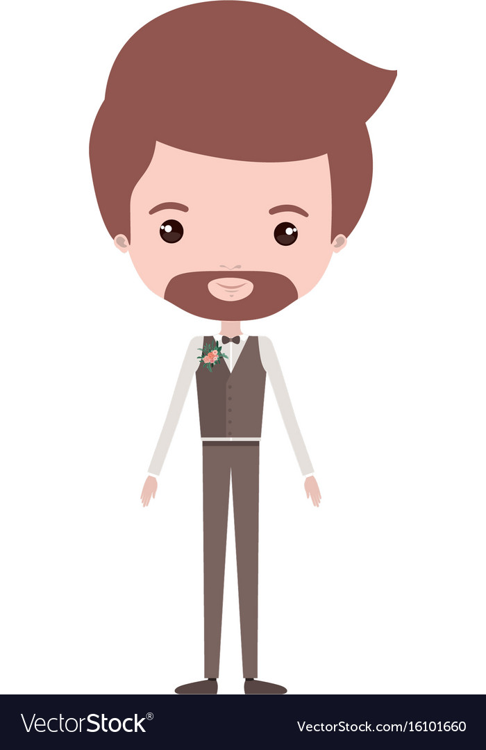 Colorful caricature groom man in wedding formal vector image