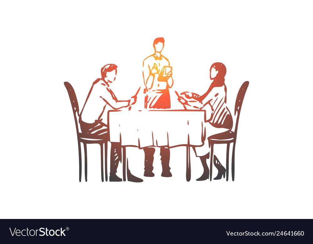Couple restaurant table waiter concept