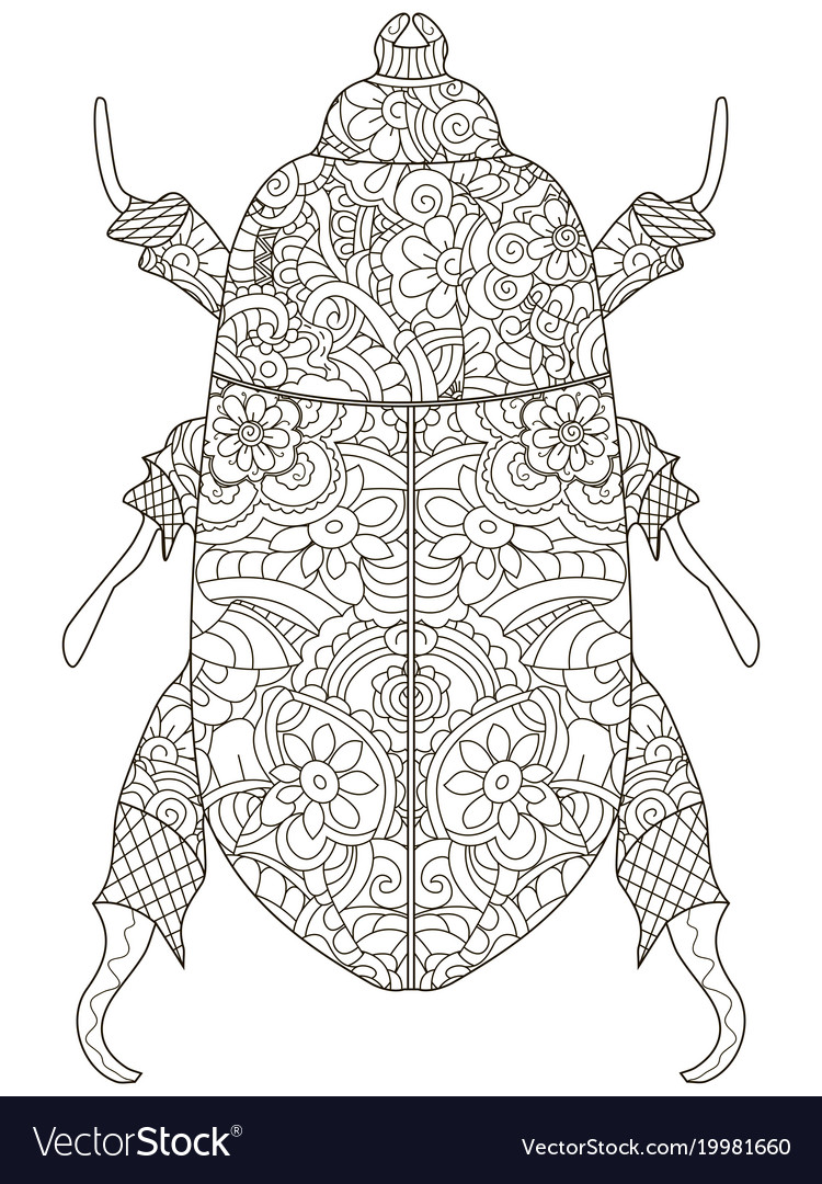 Darkling Beetle Anti Stress Coloring Book Vector Image