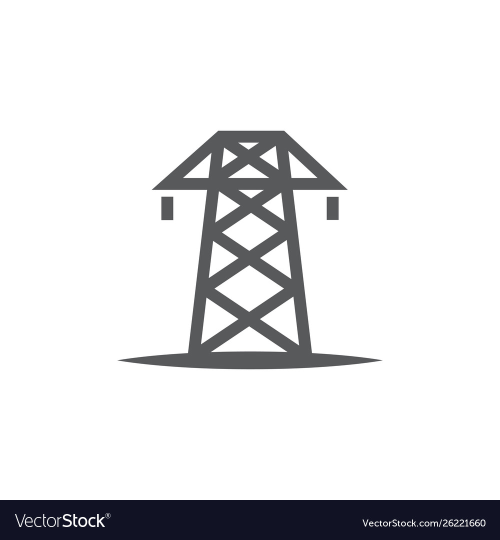 Electric tower icon on white background