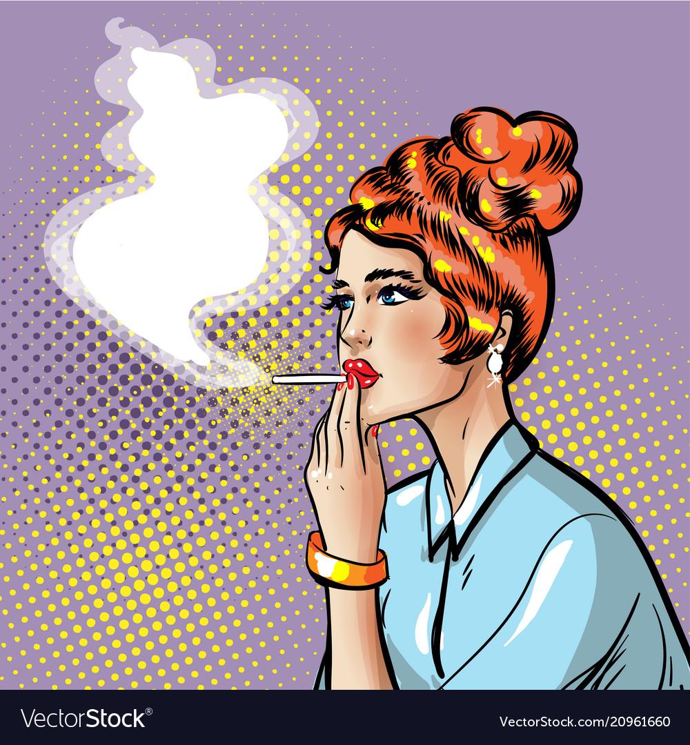 Fashionable pin-up smoking girl with smoking