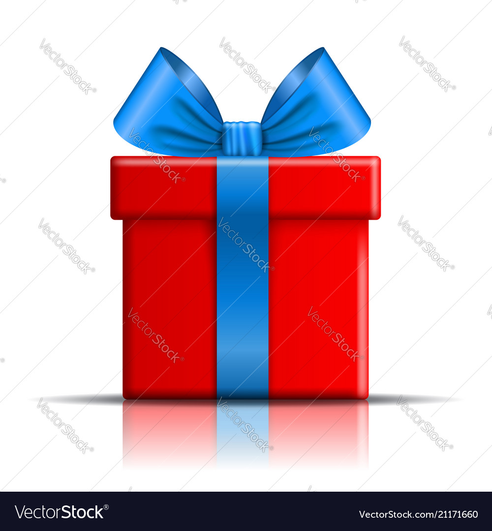 Gift Box Red Icon Surprise Present Template Blue Vector Image