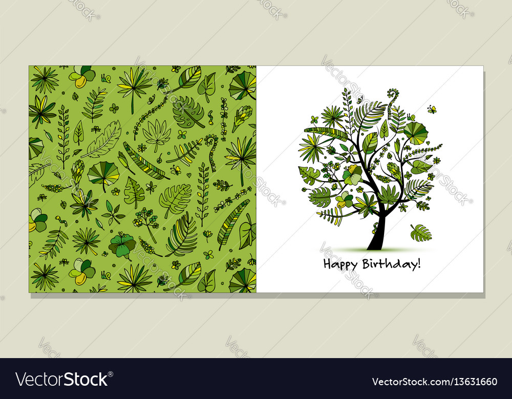 Greeting card with tropical tree design