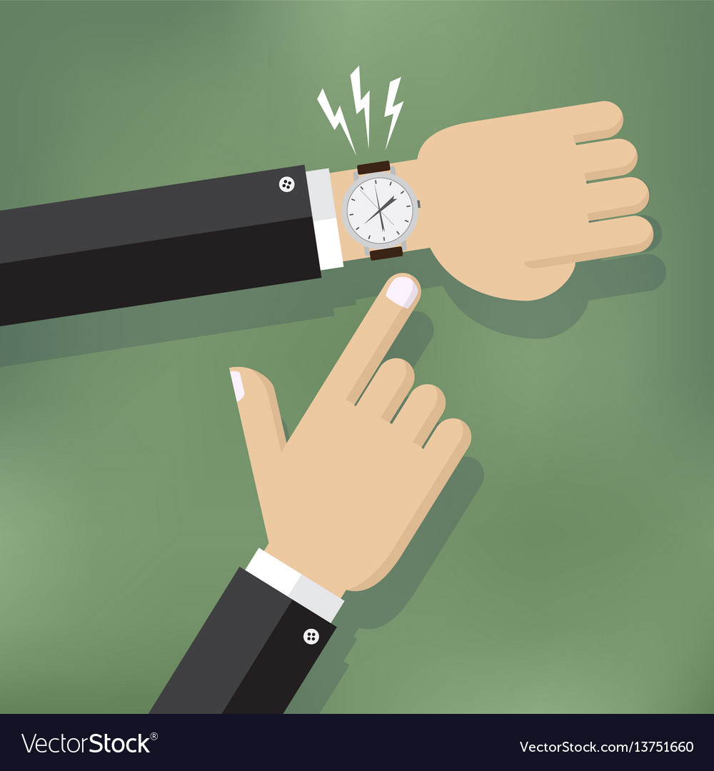 Hand pointing at watch