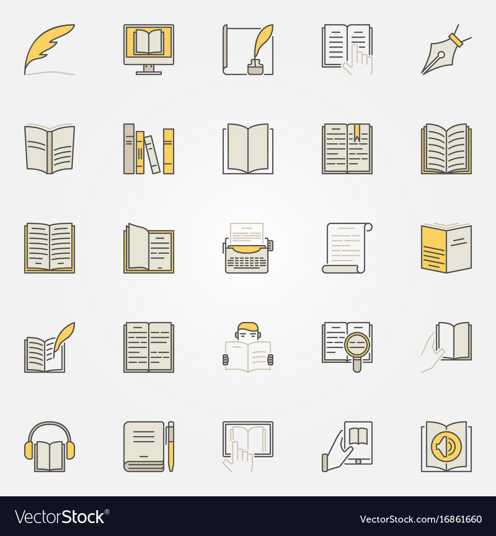 Literature colorful icons set vector image