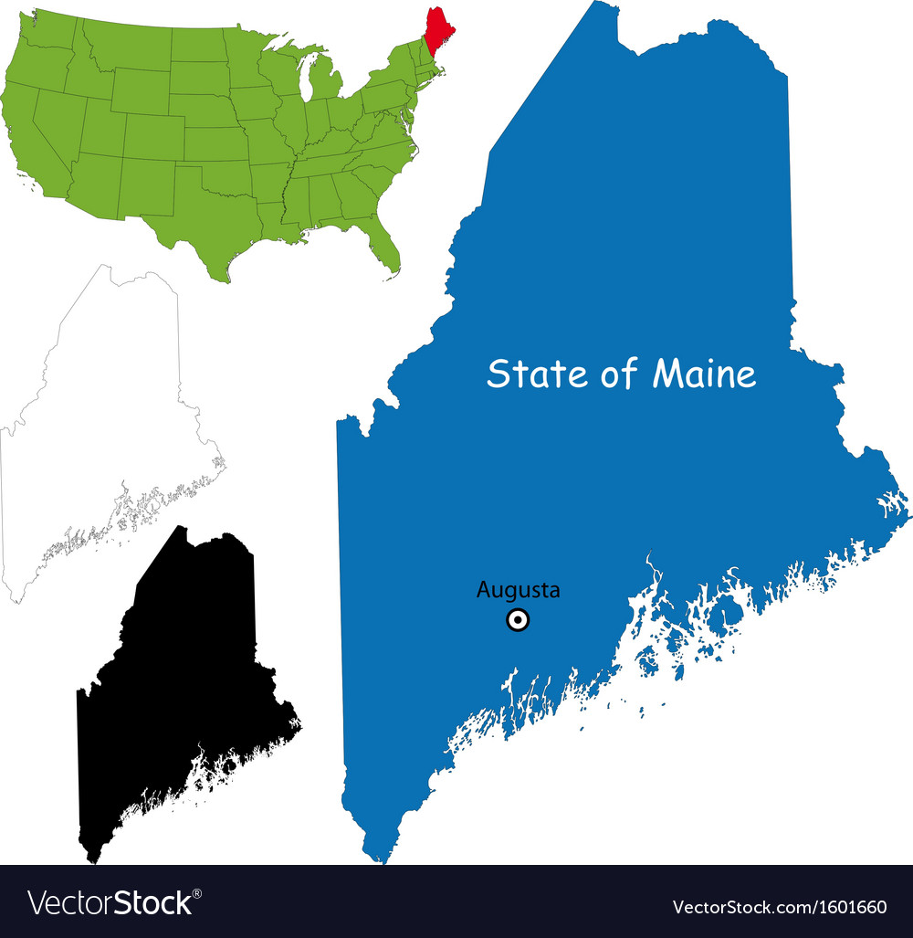 Maine Map Royalty Free Vector Image Vectorstock