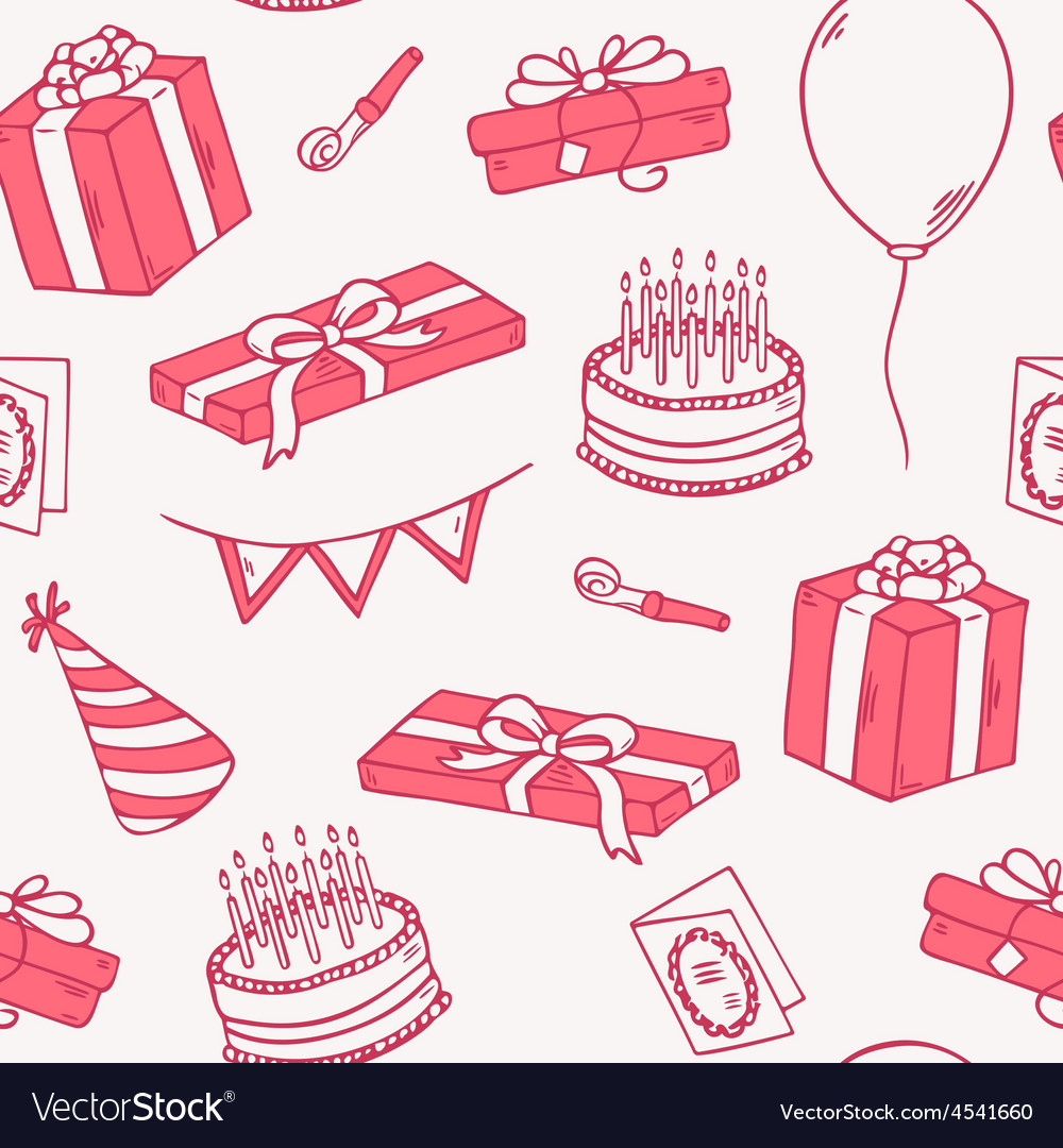 Outline style birthday party seamless pattern