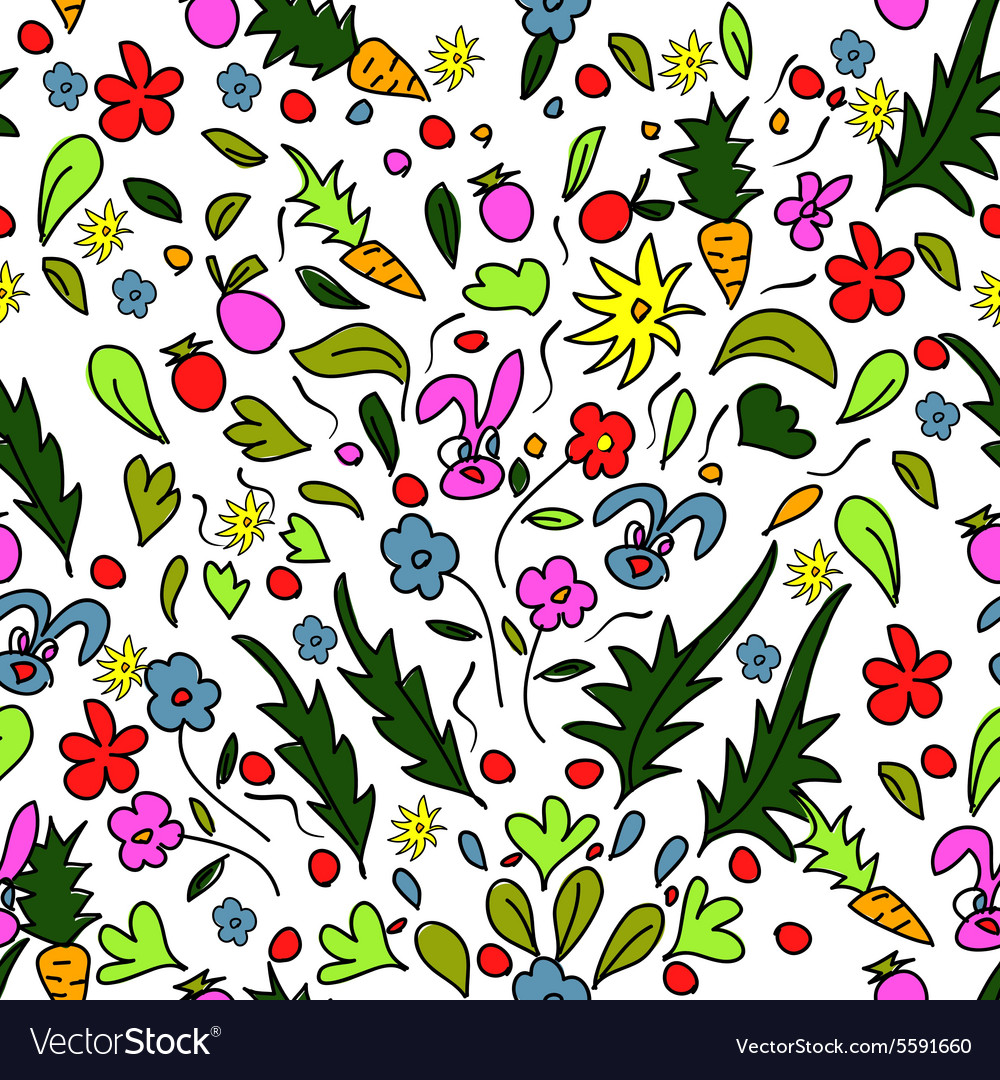 Seamless pattern colorful garden with rabbits and