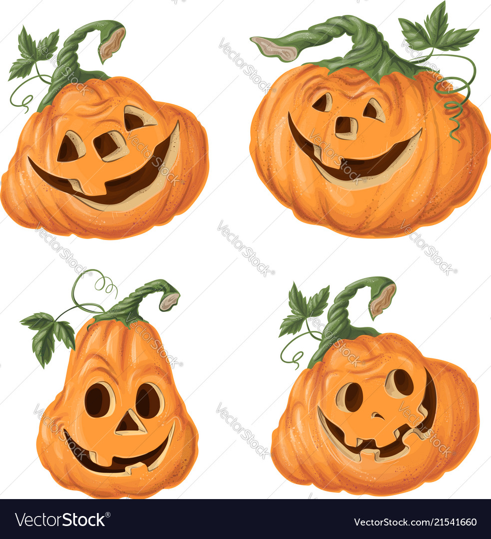 Set halloween pumpkins funny faces autumn