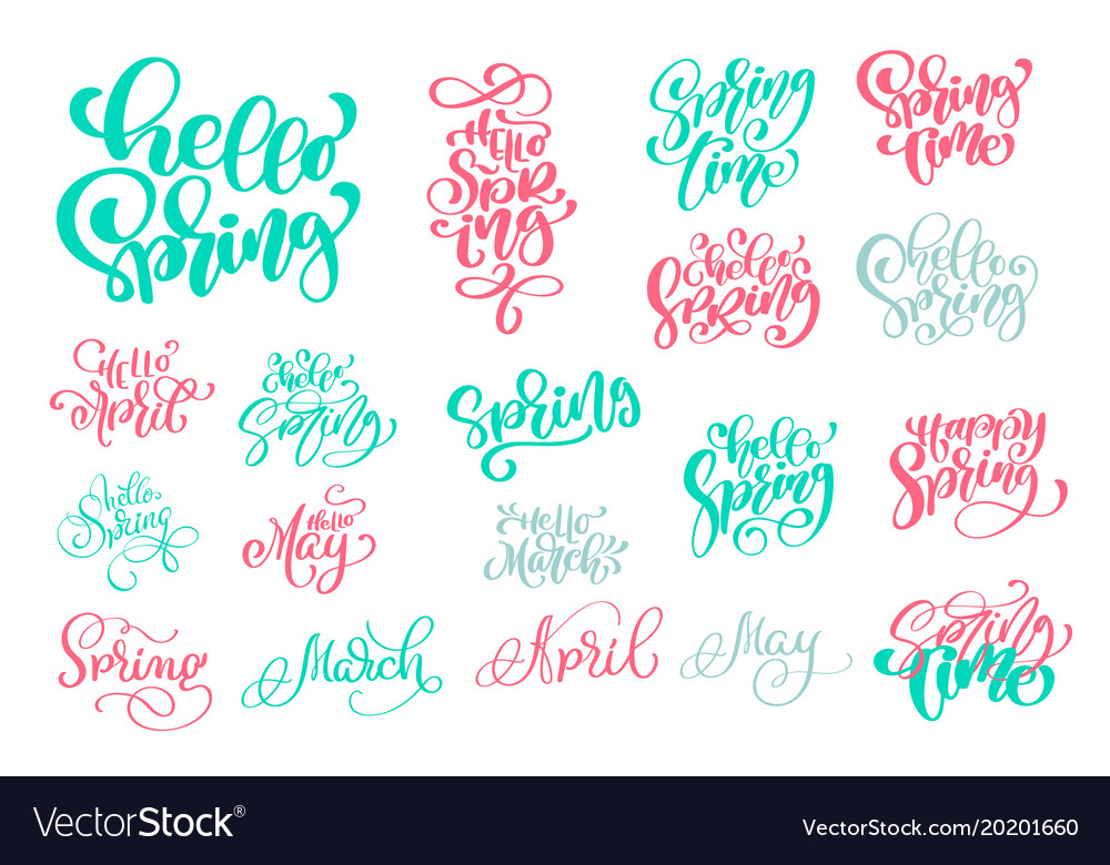 Set hello spring of hand drawn quotes trendy hand