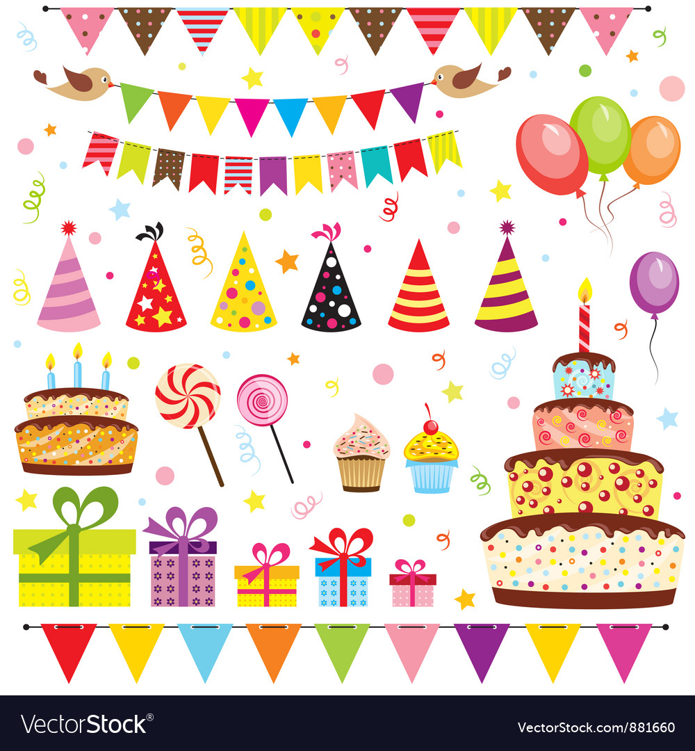 Set Of Birthday Party Elements Royalty Free Vector Image