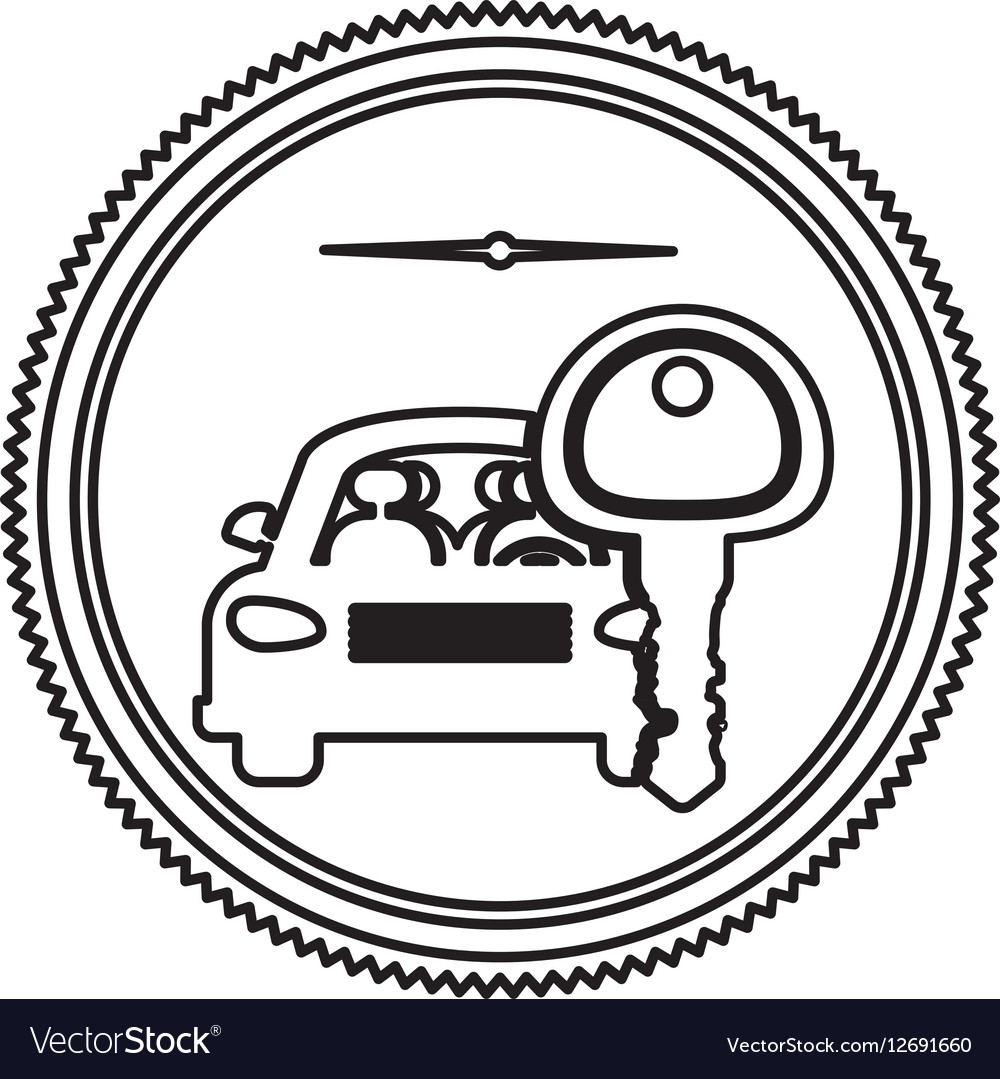 Silhouette stamp with car and key vector image