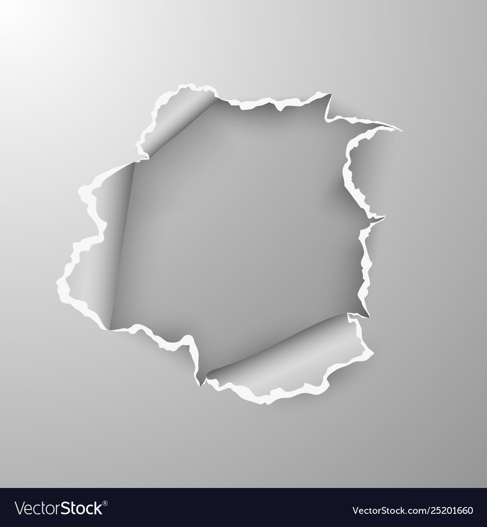 Torn hole in sheet paper on transparent