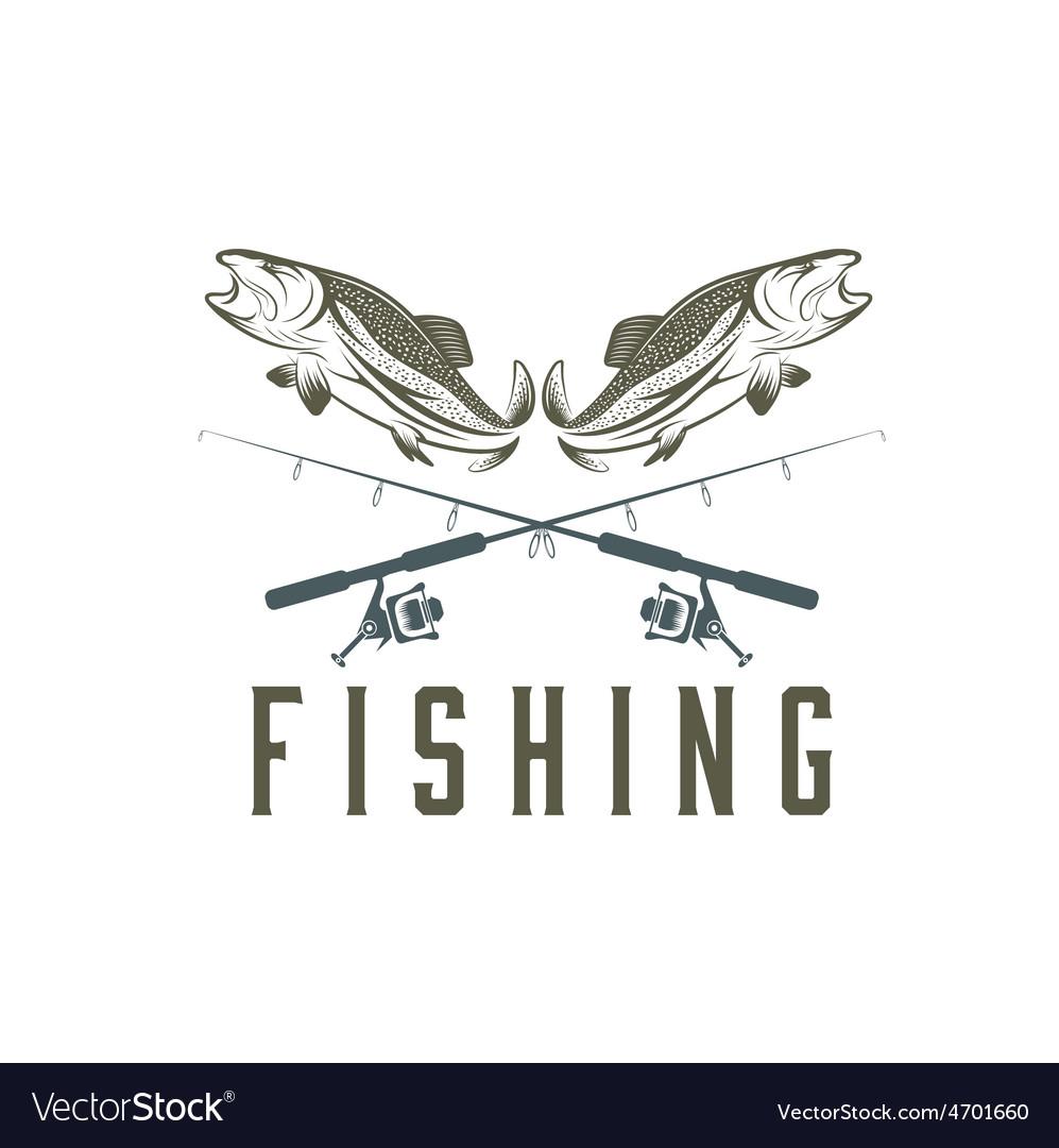 Vintage fishing design template