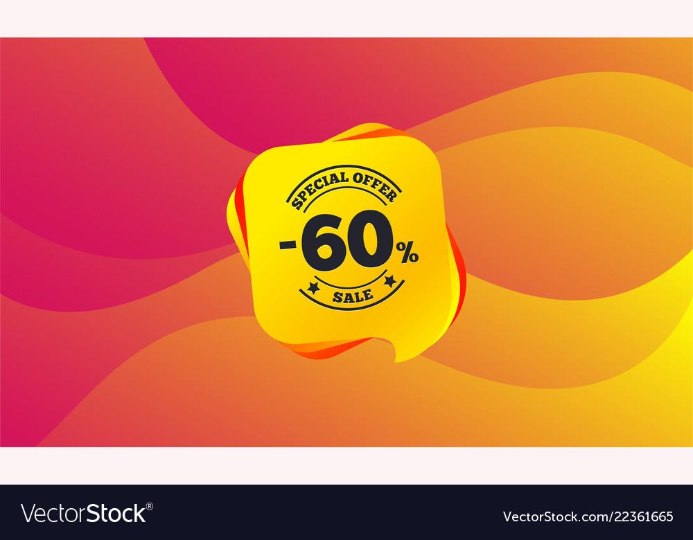 60 percent discount sign icon sale symbol