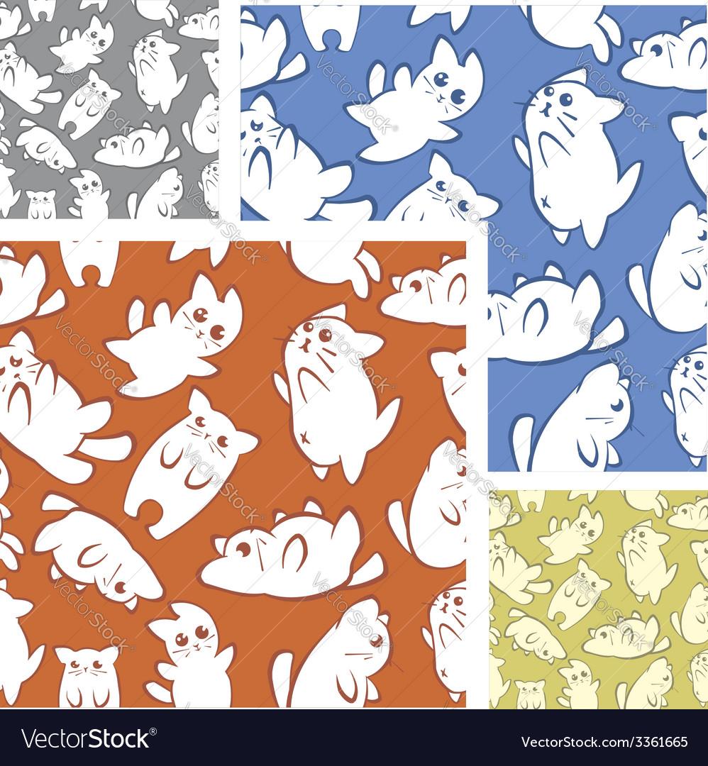 Cats and kittens - seamless pattern set
