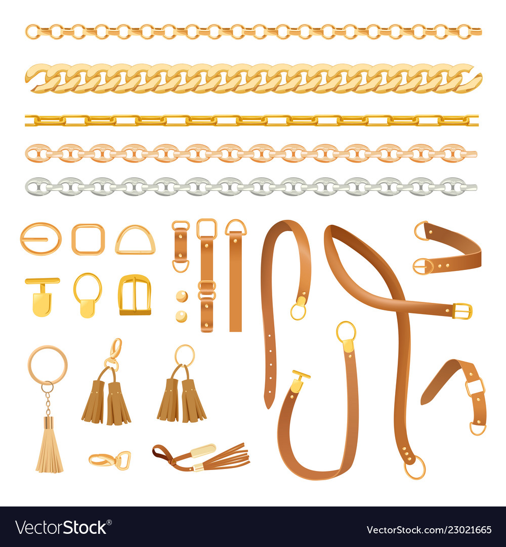 Chains and belts fashion elements set fashionable