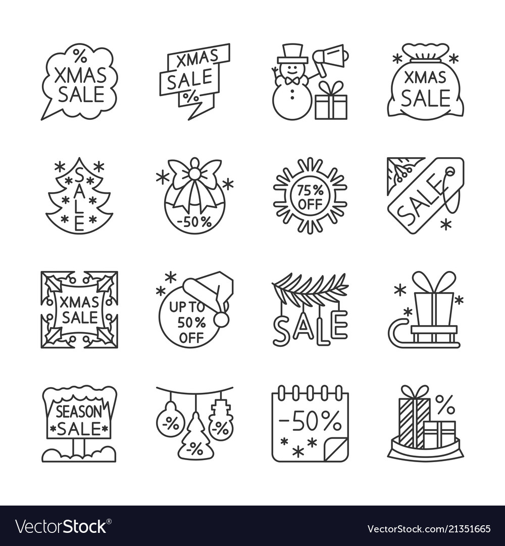 Christmas new year sale line icons editable stroke