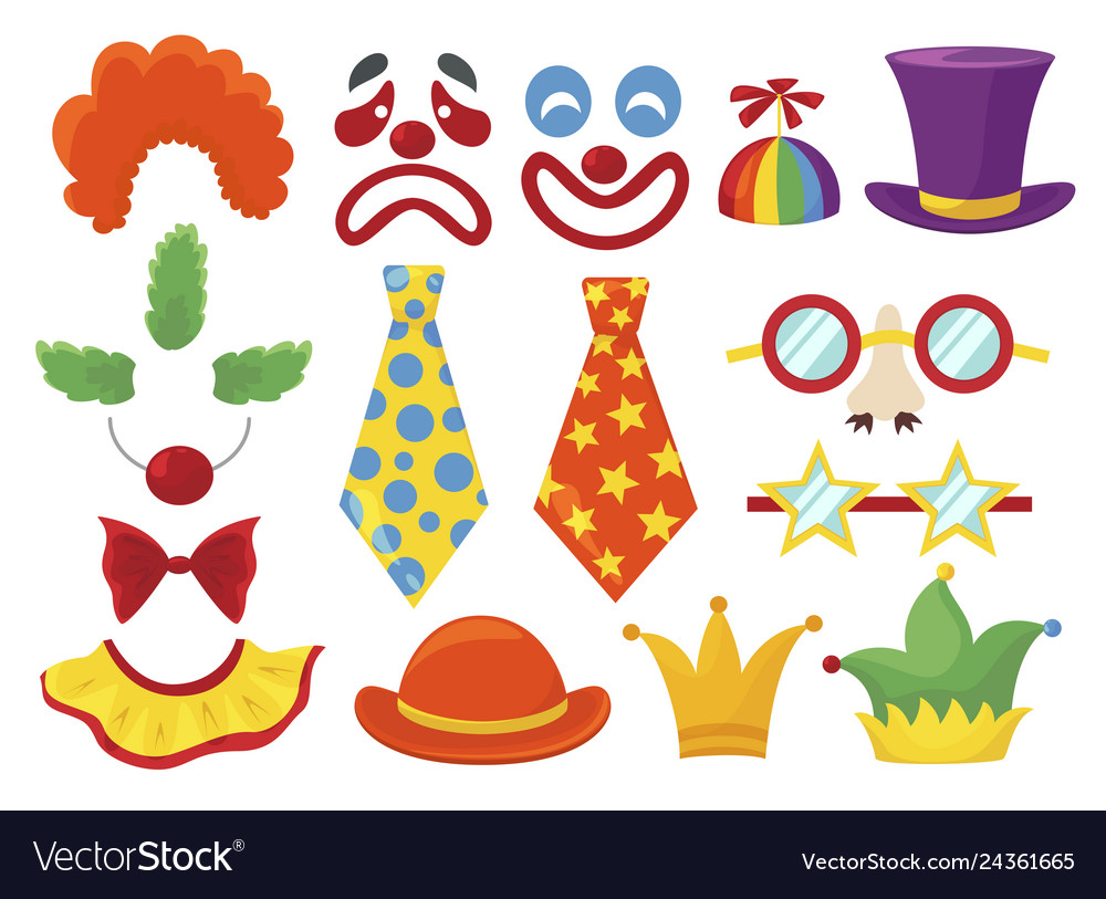 Clown props set funny colorful booth elements