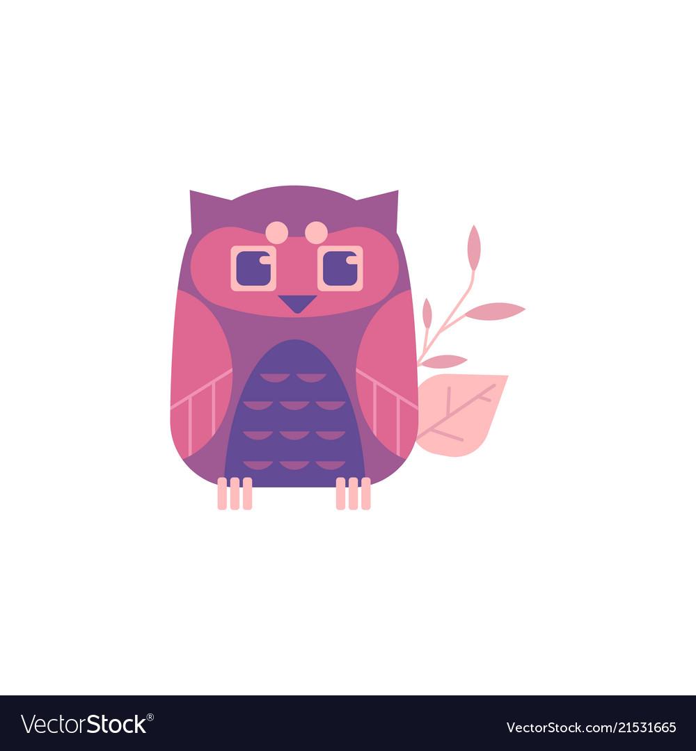 Cute sitting owl isolated on white background