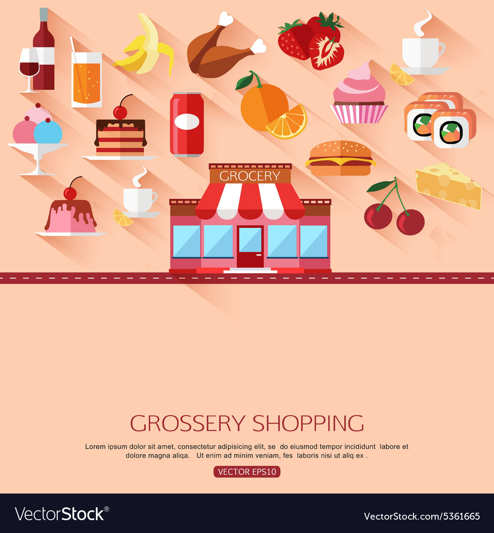Grossery shopping concept background with place vector image