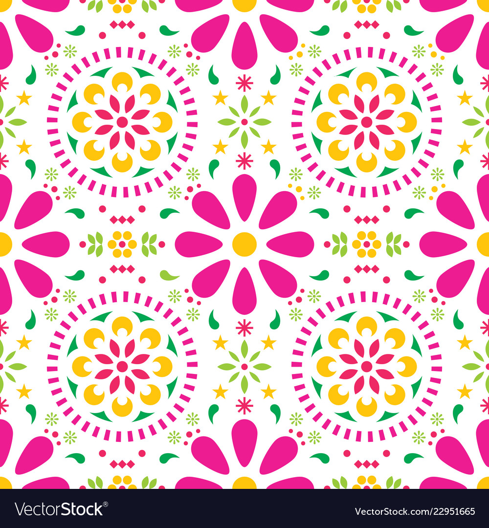 Mexican floral seamless pattern folk