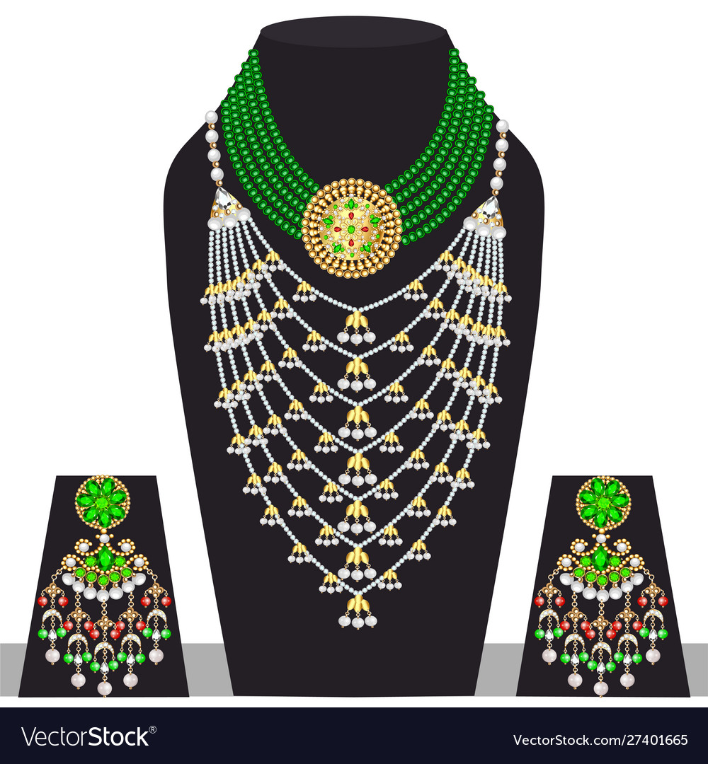 Set indian wedding necklace and earrings
