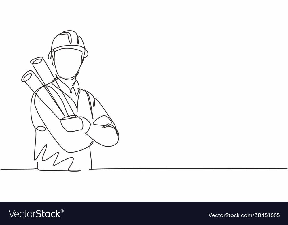 Single one line drawing young male architect