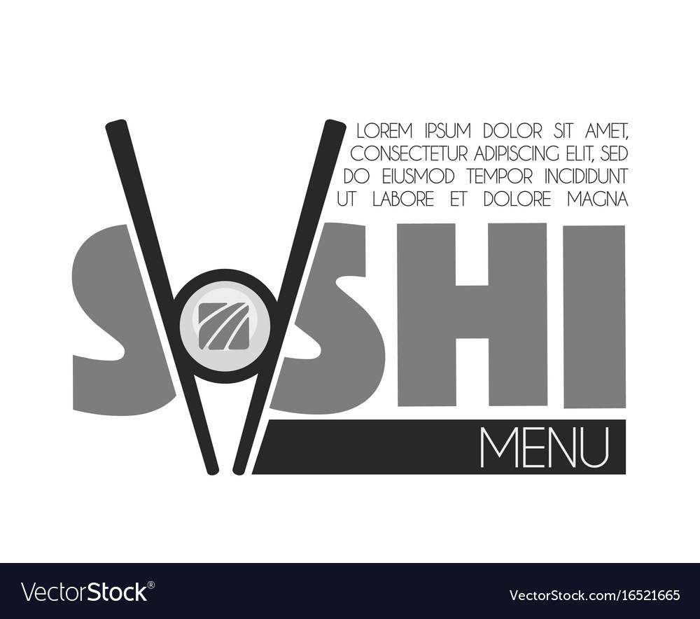 Sushi bar menu monochrome emblem with sticks and