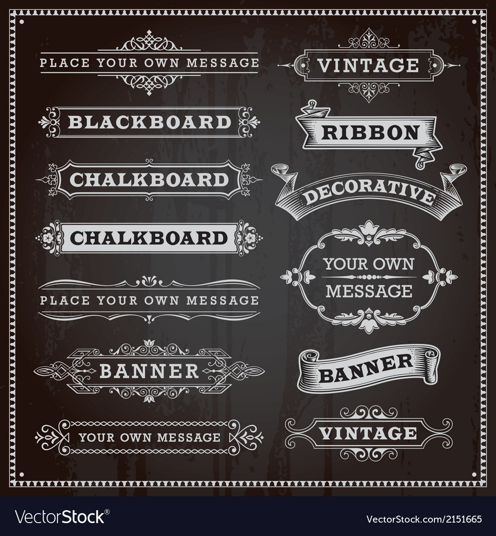 Vintage Banners Frames Ribbons Chalkboard Style