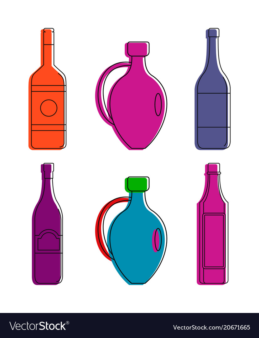 Wine bottle icon set color outline style vector image