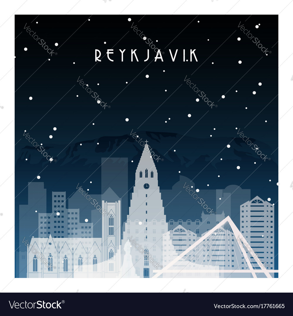 Winter night in reykjavik night city vector image