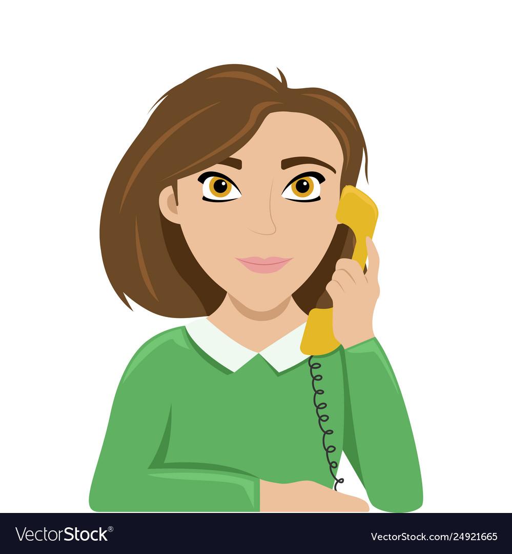 Woman talking on phone work talk retro phone Vector Image