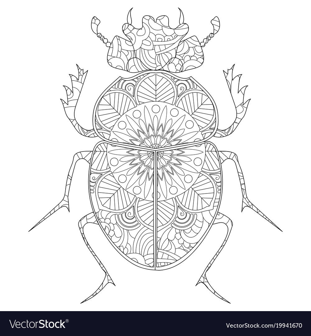 Anti Stress Coloring Book Egyptian Scarab Vector Image