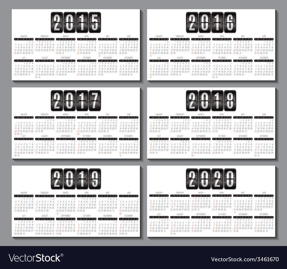 2016 2020 Calendar Calendar grid for 2015 2016 2017 2018 2019 2020 Vector Image