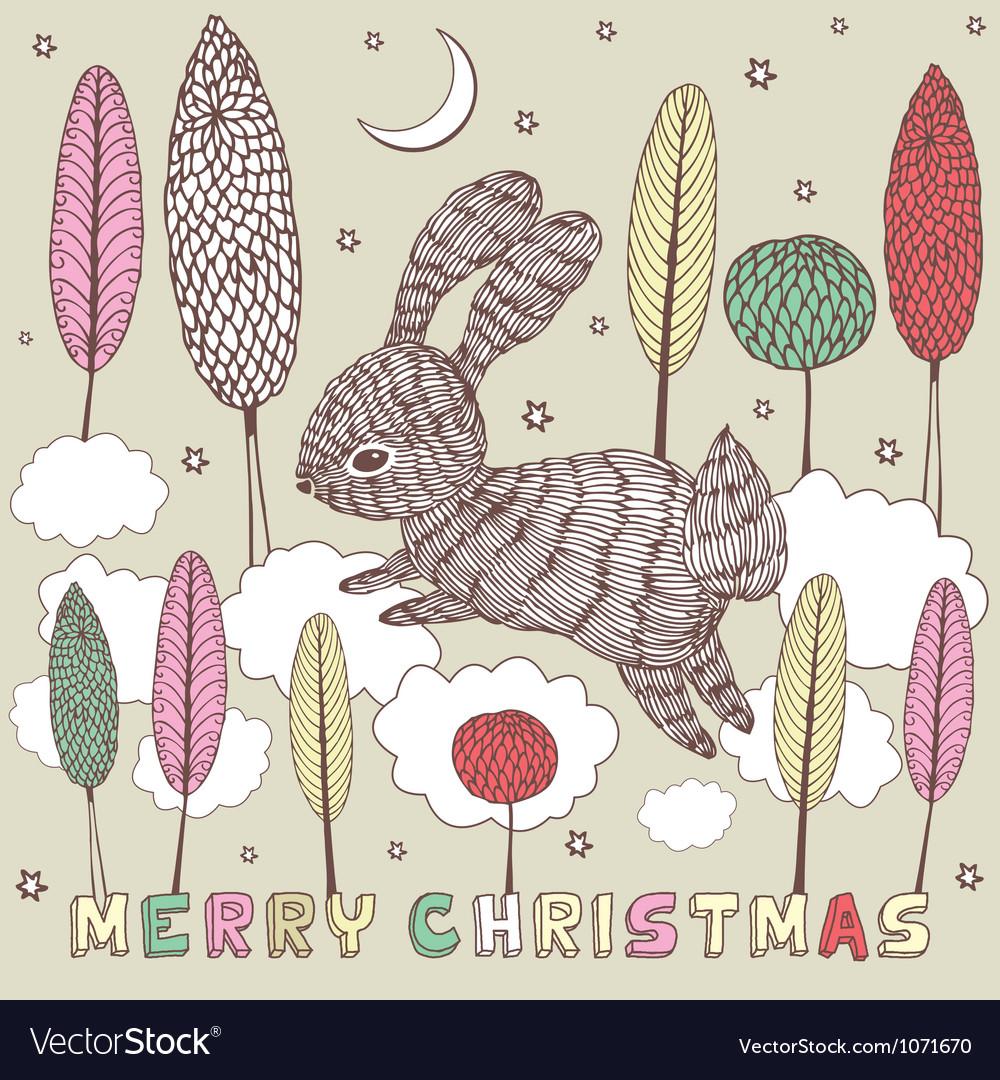 Christmas doodle Rabbit Card vector image