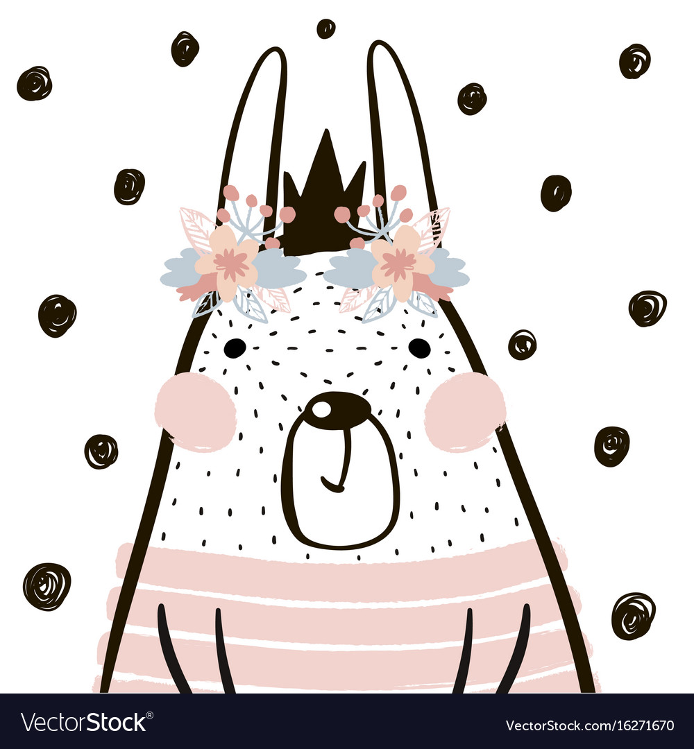 Cute cartoon rabbit girl with crown in