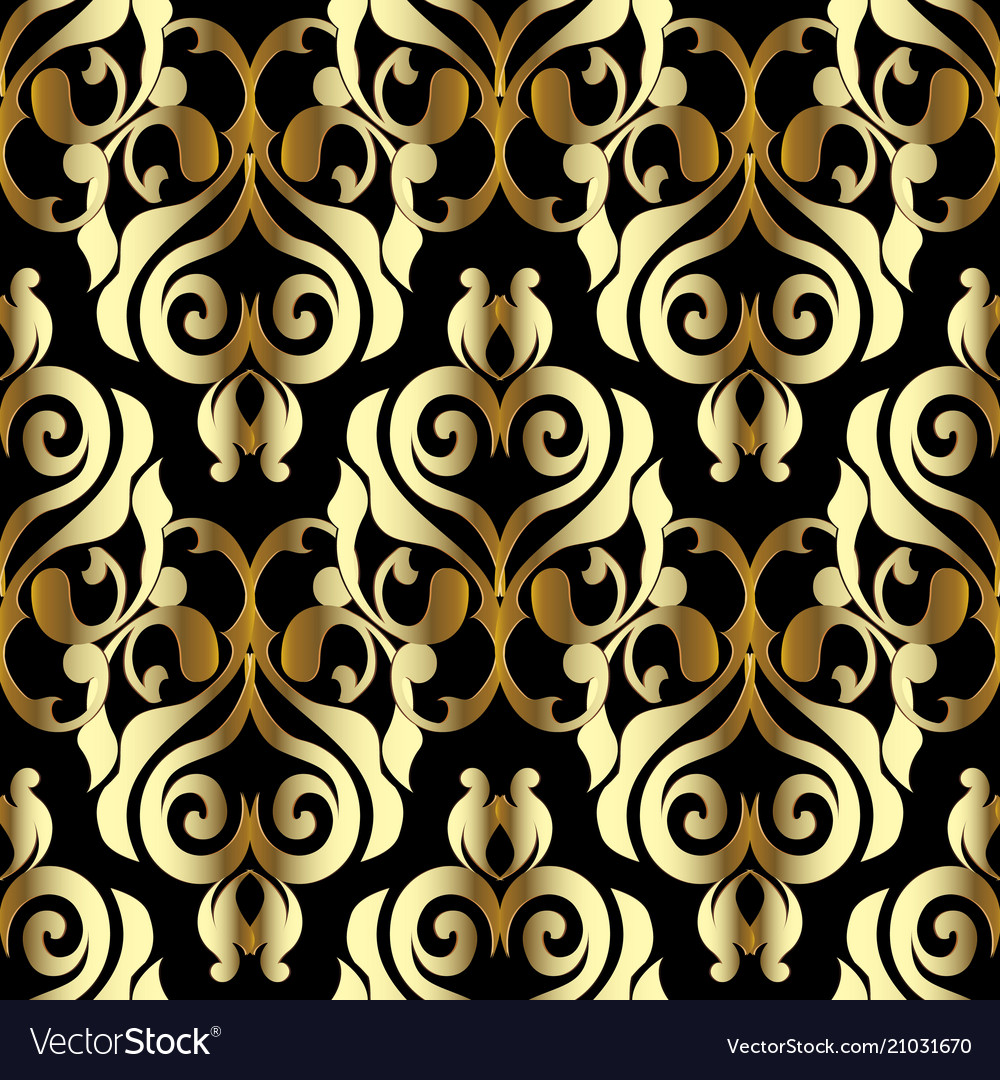 Damask Seamless Pattern Black Gold Floral Vector Image