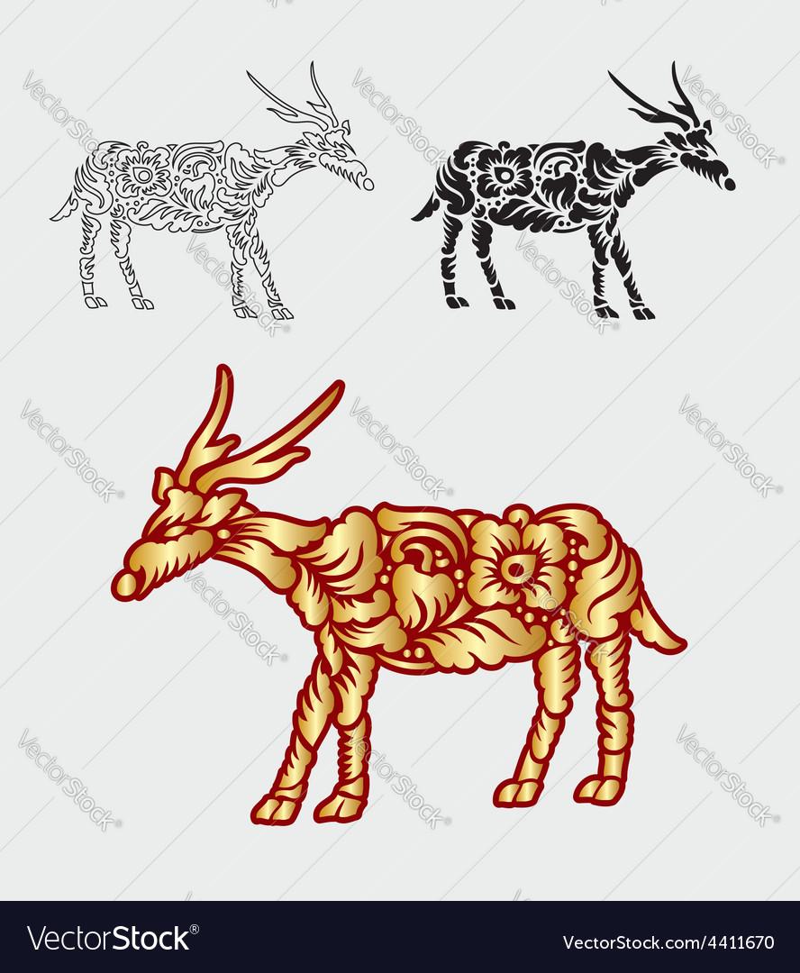 Deer gold floral ornament decoration vector image