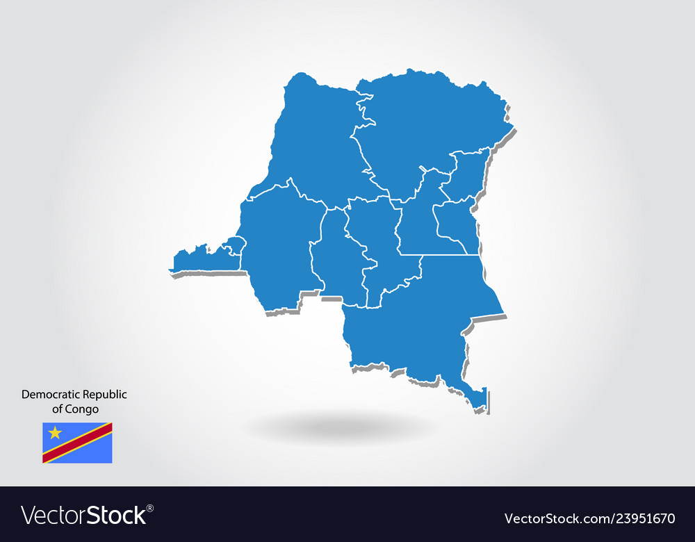 Democratic republic of congo map design with 3d