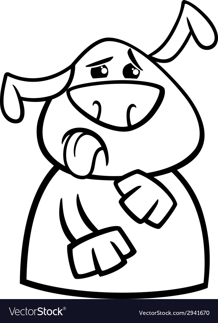 Dog Yuck Face Cartoon Coloring Page Royalty Free Vector