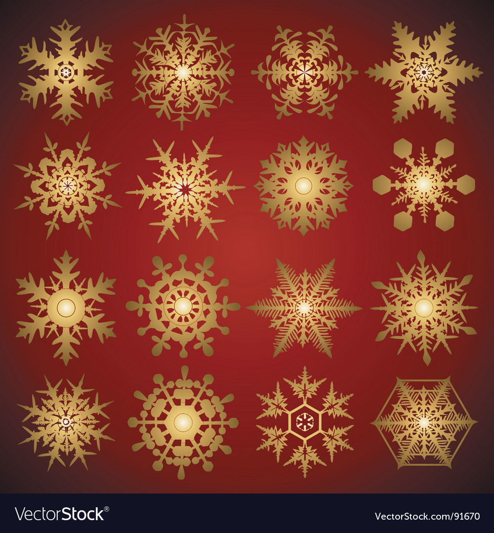 Gold crystal snowflakes vector image